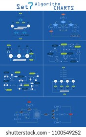 Business data visualization. Process chart. Set Algorithm flowchart of graph, diagram with steps,options,parts or processes.Vector business template for presentation. Creative concept for infographic.