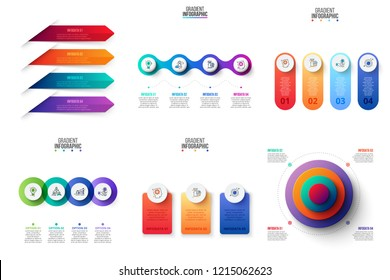Business data visualization. Process chart. Abstract elements of graph, diagram with 3 and 4 steps, options or processes. Vector business template for presentation. Creative concept for infographic.