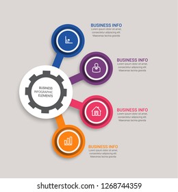 Business data visualization. Process chart. Abstract elements of graph, diagram with 4 steps, diagram, business step options, banner, web design. Business data visualization. Process chart. - Vector