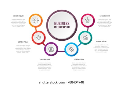 Business data visualization. Process chart. Abstract elements of graph, diagram with 6 steps, options, parts or processes. Vector business template for presentation. Creative concept for infographic.