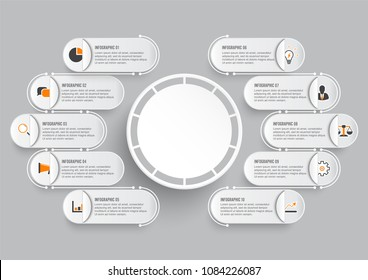 Business data visualization. Process paper chart. Abstract elements of graph, diagram with 10 steps, options, parts or processes. Vector business template for presentation. Creative concept for infogr