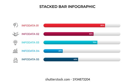 Business data visualization. Stacked bar chart. Vector business template for presentation. Creative concept for infographic.