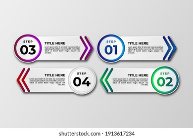 Business data visualization Template. Infographic design element steps , option, process, timeline. gradient colorful graphic elements for process, presentation, layout, banner, infograph.