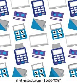 business dataphone credit card wallet calculator pattern
