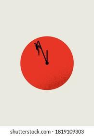 Business deadline vector concept with businessman hanging on clock face. Symbol of time management, stress, pressure, hard work. Eps10 illustration.