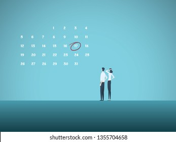 Business deadline vector concept with man and woman looking at calender. Symbol of project management, milestones, planning, goals and stress. eps10 vector illustration.