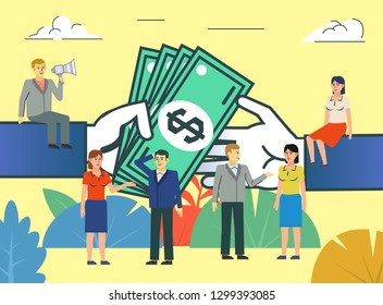 Business deal, agreement, payment. People stand near big hands giving cash, money. Poster for social media, web page, banner, presentation. Flat design vector illustration