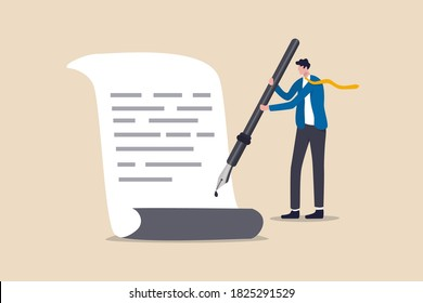 Business deal, agreement, sign contract and paperwork for banking loan, mortgage or government policy, confidence businessman leader or client using fountain pen signing his signature on paperwork.