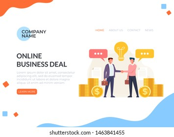 Business deal agreement web banner page concept. Vector flat cartoon graphic design isolated illustration