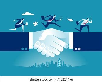 Business deal. Businessmen shaking hands.  Concept business vector illustration