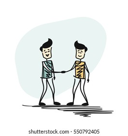 Business deal handshake. Cooperation or partnership. Flat design. Hand Drawn Skech Vector illustration.
