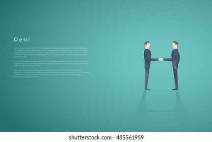 Business deal symbol with two businessmen handshake. Partnership concept vector background. Eps10 vector illustration.