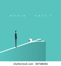Business decision concept illustration. Businessman standing in front of arrows as symbol for choice, career path or opportunities. Eps10 vector illustration.
