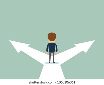 Business decision concept vector illustration. Businessman standing on the crossroads with two arrows and directions. Stock flat vector illustration.