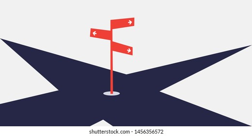 Business Decision Design Concept with Crossroads and a Road Sign - Eps10 Vector Illustration