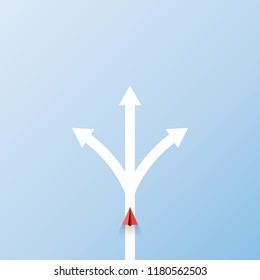 Business decision and leadership concept with red paper airplane flying above arrow three way junction paper art style.Vector illustration.