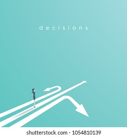 Business decision vector concept with businesswoman standing above three arrows. Business symbol of decision, opportunity, challenge, career. Eps10 vector illustration