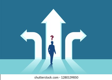 Business decisions concept. Vector of a perplexed businessman with question mark standing in front of arrows crossroads making a right choice. Career path and strategy.