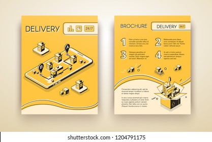 Business delivery, logistic startup mobile service advertising brochure, flyer or poster line art isometric vector template, pages design layout with truck on cellphone screen carrying cargo in city