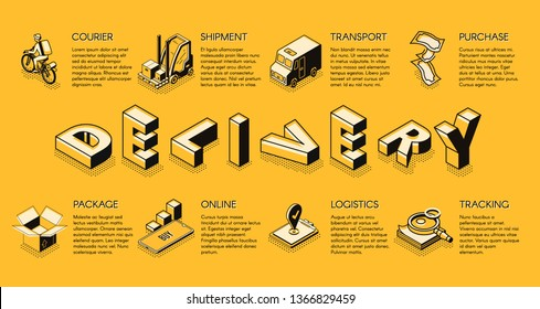 Business delivery or logistics company isometric vector banner, poster template with bicycle courier, shipment process online tracking, purchased goods packaging services line art icons illustration