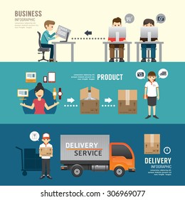 Business design e-shopping concept people set presentation, planning, order, shopping, shipping, delivery service. with flat icons. vector illustration