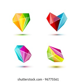 business design geometric shine crystal elements ( icon ) set for print and web. vector