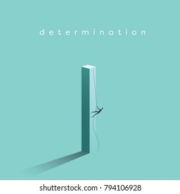 Business determination and growth vector concept. Businessman climbing vertical pillar. Symbol of career progress, promotion, motivation, achievement, challenge. Eps10 vector illustration.