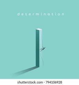 Business determination and growth vector concept. Businessman climbing vertical pillar. Symbol of career progress, promotion, motivation, achievement, challenge. Eps10 vector illustration.