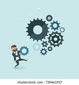 Business development concept. Businessman putting missing gear to cogwheel mechanism. Cogwheels as symbol of successful business. Vector illustration.