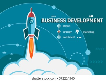 Business Development concept on background with rocket. Project Business Development concepts for web banner and printed materials.