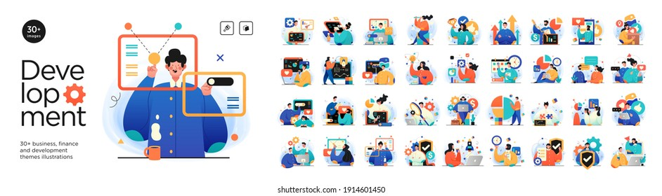 Business Development illustrations. Mega set. Collection of scenes with men and women taking part in business activities. Trendy vector style - Shutterstock ID 1914601450