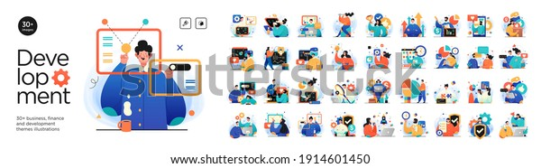 Business Development illustrations. Mega set. Collection of scenes with men and women taking part in business activities. Trendy vector style