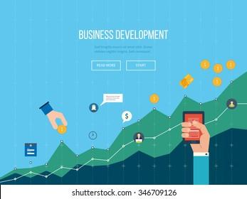 Développement des affaires. Stratégie de développement des affaires réussi. Rapport financier et stratégie. Graphique de diagramme d'entreprise. Croissance des investissements. Affaires d'investissement.