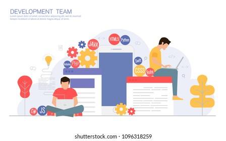 business development team, programming and coding concept, modern vector illustration