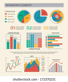 Business diagrams template layout, charts and graphs isolated vector illustration