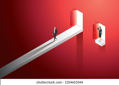 Business different inequal career opportunities between man woman. illustration Vecto