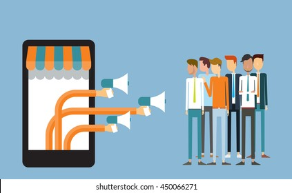 business digital marketing on mobile and . advertisement concept .flat people character