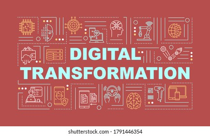 Business digital transformation word concepts banner. Technology implementation. Infographics with linear icons on red background. Isolated typography. Vector outline RGB color illustration