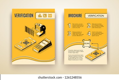 Business digital verification payment services company advertising brochure isometric vector template with barcode reader, credit card scanner and QR code on mobile phone screen line art illustration