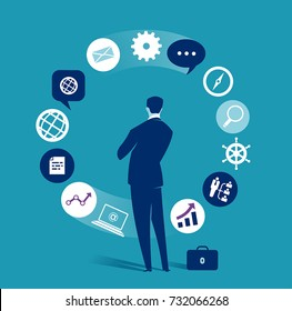 Business dilemma. Businessman looking at the rotating business icons. Concept business vector illustration