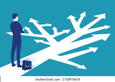 Business dilemma and choices concept. Businessman in front of a lot of arrows does not know which to choose isolated on blue background. Eps 10 Vector illustration, flat style, minimalistic design.