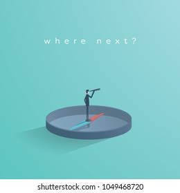 Business direction concept vector with businessman standing on compass showing direction. Symbol of business strategy, future, vision. Eps10 vector illustration.