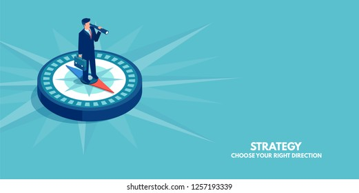 Business direction concept. Vector of a businessman standing on compass showing direction. Symbol of strategy, future vision.