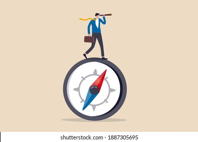 Business direction with leadership visionary, business goal and achievement or looking for solution and discovery concept, smart businessman leader using telescope look for the way forward strategy.