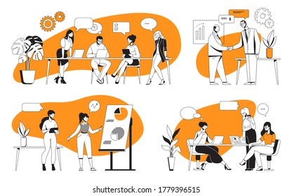 Business discussion. Cartoon office characters meeting and working on presentation. Vector illustration team work and communication scenes with text bubbles for oversized poser professional solution
