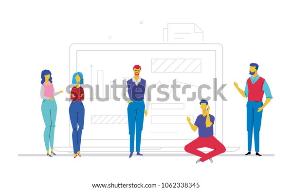 Business discussion - flat design style colorful illustration on white background. A composition with cute characters, office workers or businessmen standing before an infographic chart talking