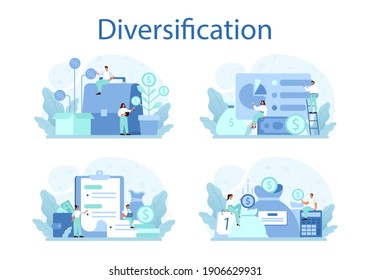 Business diversification concept set. Risk management strategy, process of capital allocation. Finance balance and investment risk reduction. Isolated flat vector illustration