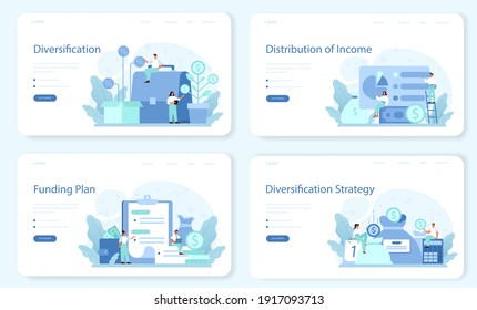 Business diversification web banner or landing page set. Risk management strategy, process of capital allocation. Finance balance and investment risk reduction. Isolated flat vector illustration