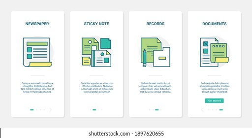 Business document, data files vector illustration. UX, UI onboarding mobile app page screen set with line paper newspaper article, sticky note for records, planner checklist form documentation symbols
