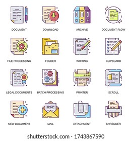 Business documents flat icons set. Batch processing, legal documents, archive, file download, shredder, mail attachment line pictograms for mobile app. Paperwork and documentation vector icon pack.